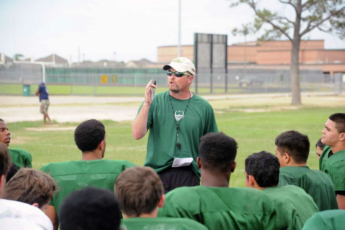 Cy Falls High School football team is having its spring football drills. Cy Falls participates in UIL District 17-5A. Following practice, coach Kirk Eaton gives the players some thoughts about today's practice.
