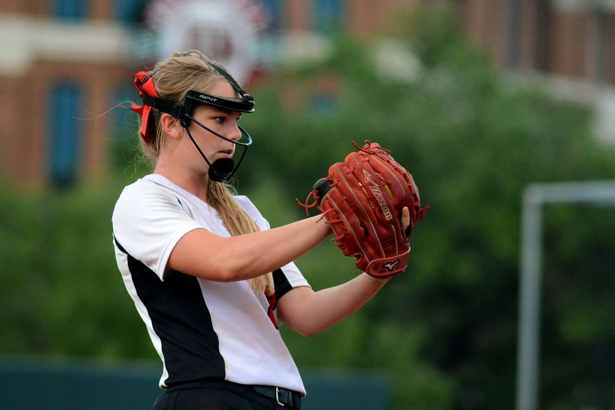 Huffman Hargrave pitcher Savanna Cates works against a La Grange hitter during the Falcons' win last week at Texas A&M University.