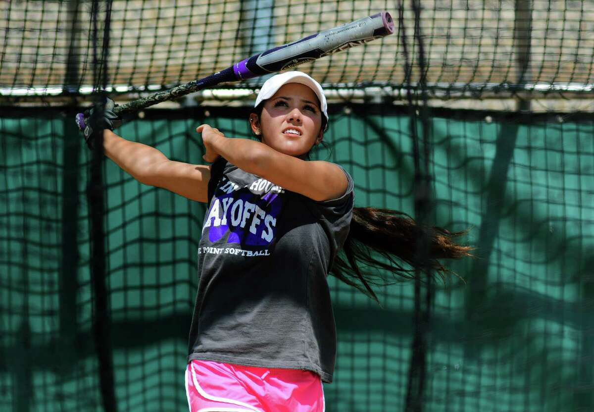 Ridge Point senior left fielder Leeann Thompson takes her turn in the batting cage at practice last Monday in preparation for the Panthers' trip to the UIL Class 5A State Softball Tournament at the University of Texas at Austin this weekend.