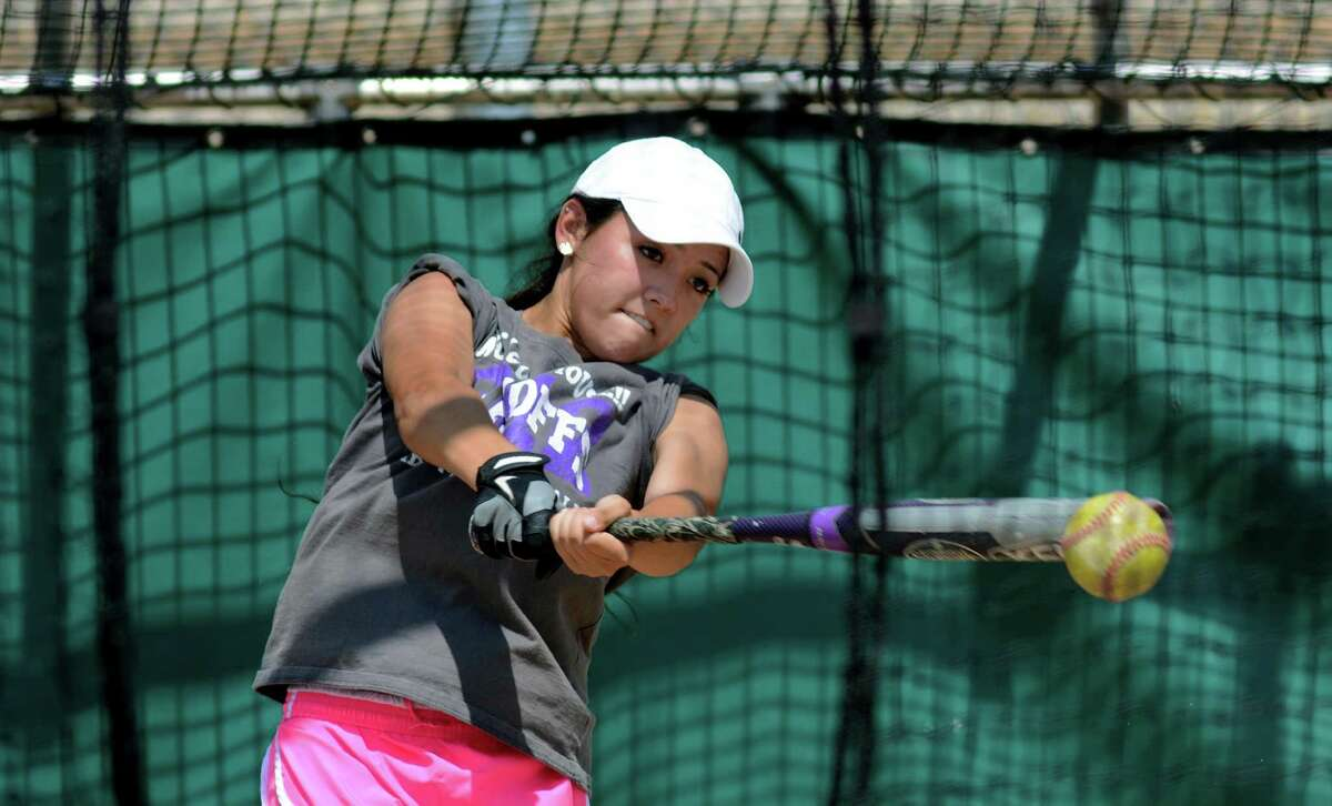 Ridge Point senior leftfielder Leeann Thompson takes her turn in the batting cage at practice on Monday, June 1, 2015. (Photo by Jerry Baker/Freelance)