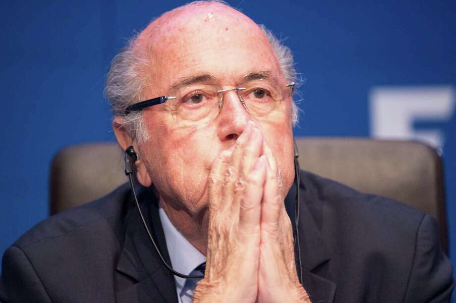 President Joseph Blatter listens at a press conference at FIFA headquarters during the opening day of the 65th Congress on May 30, 2015 in Zurich, Switzerland. Blatter announced Tuesday that he is stepping down from president of the organization. (i-Images/Zuma Press/TNS) Photo: I-Images, MBR / McClatchy-Tribune News Service / Zuma Press