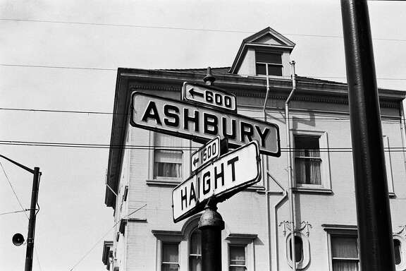 SAN FRANCISCO - 1967:  The intersection of Haight and Ashbury Streets was a beacon for thousands of hippies, thrill-seekers, and the simply-curious during the Summer of Love in San Francisco, California, in early summer, 1967.  (Photo by Michael Ochs Archives/Getty Images)