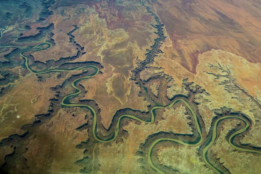 The landscape of southern Utah is shown during a flight in a commercial airliner on Friday, May 29, 2015.