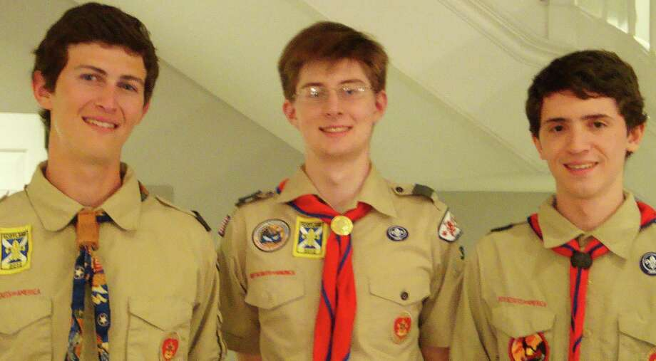 Troop 36 Boy Scouts, from left, Ben Waller, Steven Bean and Peter Campbell, are the latest members of the troop to earn the Eagle rank, the highest in Scouting. Photo: Contributed Photo / Contributed Photo / Westport News