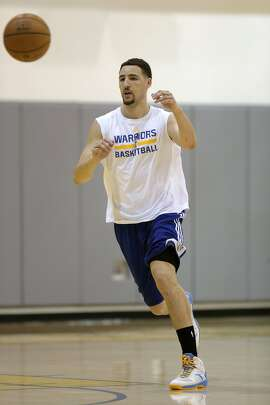 Klay Thompson during practice as the Golden State Warriors hold a media availability at their practice facility in Oakland, Calif., on Tues. June 2, 2015, as they prepare for game one of the NBA finals later this week.