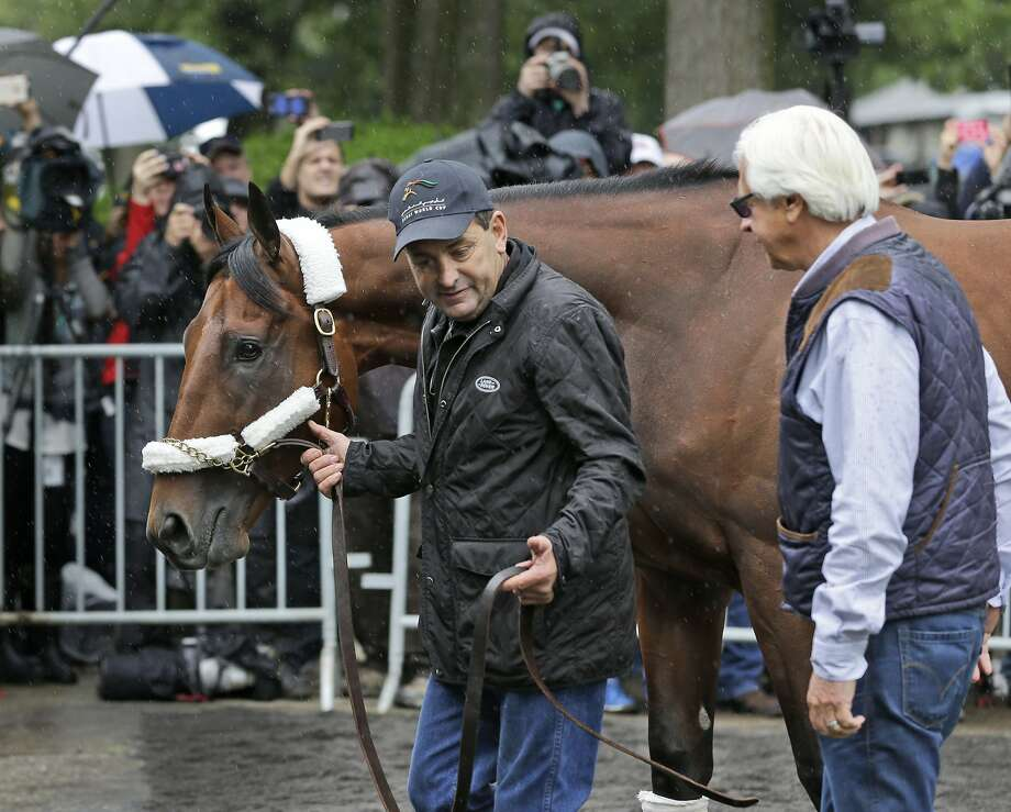 Trainer Bob Baffert (right) and assistant trainer Jimmy Barnes lead American Pharoah to a van at Belmont Park. Photo: Seth Wenig, Associated Press