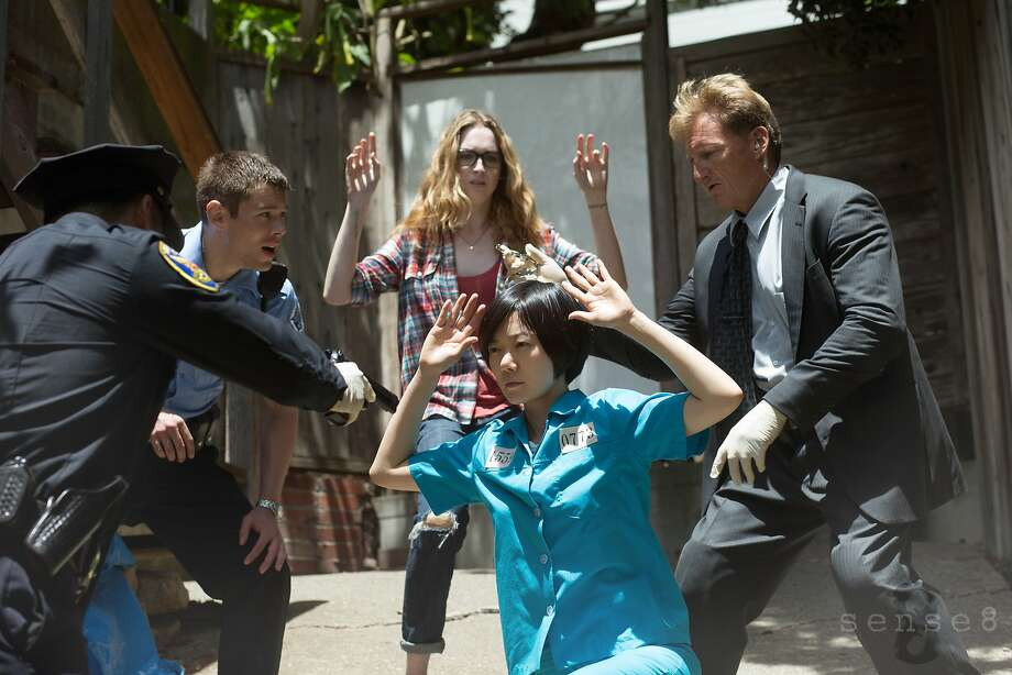 "Brian J. Smith (second from left), Jamie Clayton, Doona Bae and Paul Crawford in the Netflix sci-fi drama ""Sense8."" Photo: Merie Weismiller Wallace"