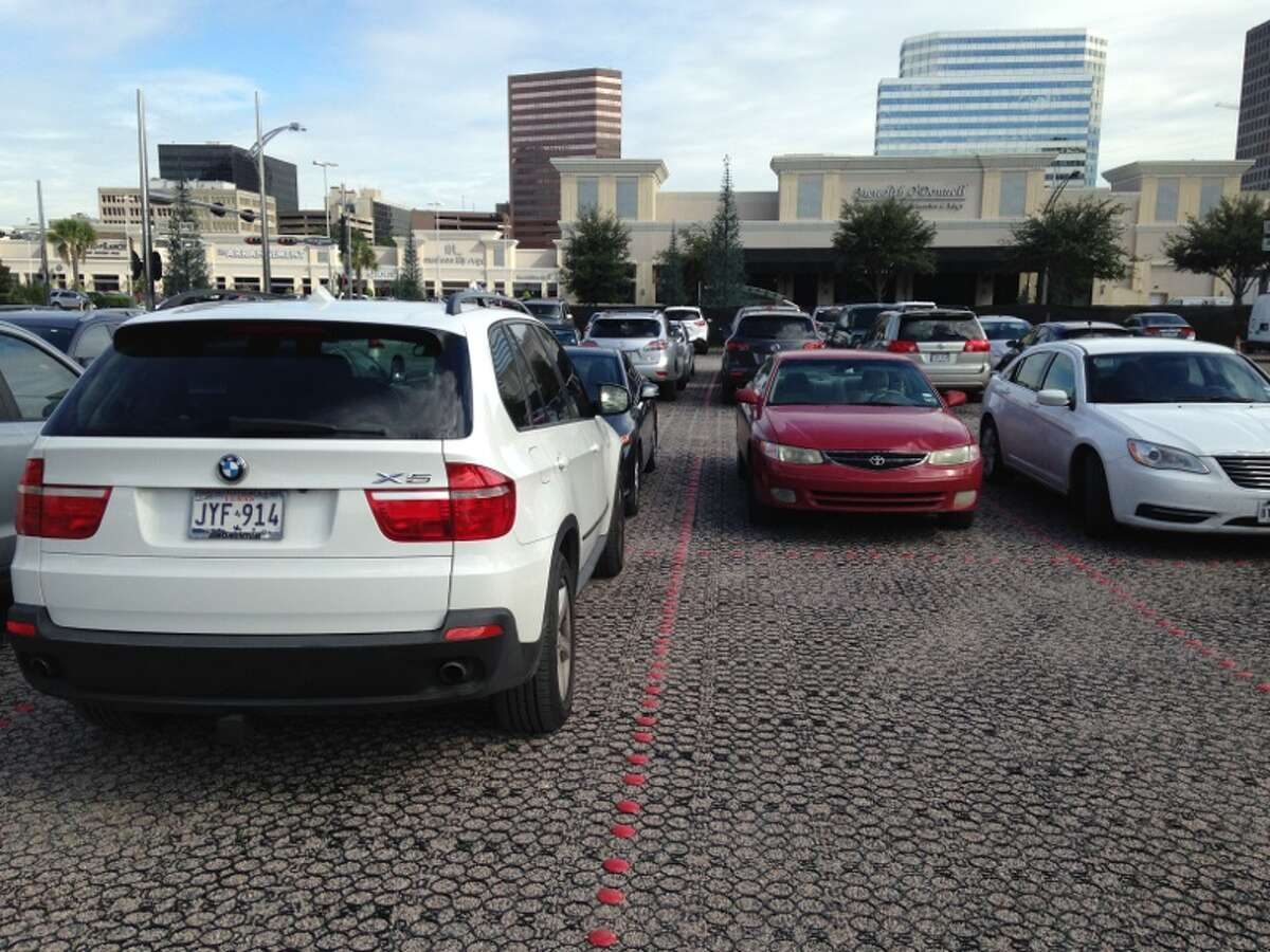 Permeable pavement at a temporary parking lot at the Whole Foods on Post Oak Blvd.
