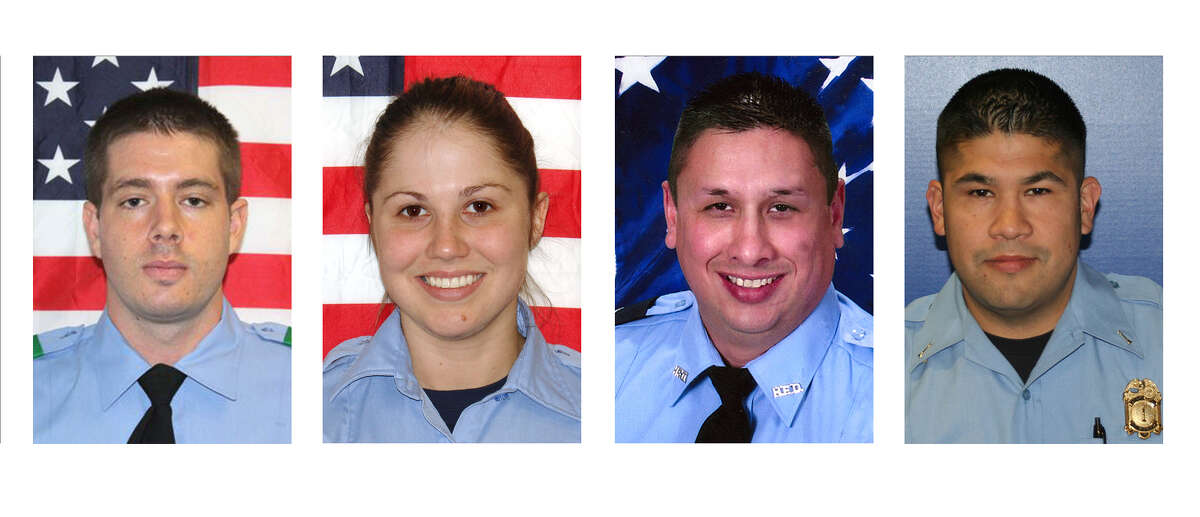 This combo of photos provided by the Houston Fire Department shows, from left, firefighter EMT Robert Garner, probationary firefighter Anne Sullivan, engineer operator EMT Robert Bebee, and Capt. EMT Matthew Renaud of the Houston Fire Department. Garner, Sullivan, Bebee, and Renaud died while searching for people they thought might be trapped in a blazing Houston motel and restaurant. (AP Photo/Houston Fire Department)