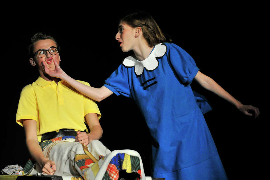 "Marcos Pinto-Leite plays Charlie Brown and Rebecca Gatz plays Lucy during a dress rehearsal performance of the student-run musical ""You're A Good Man, Charlie Brown"" at Westhill High School in Stamford, Conn., on Tuesday, June 2, 2015. The play is based on the ""Peanuts"" comic strip by Charles M. Schulz. The play has three performances: June 5 at 7 p.m. and June 6 at 2 p.m. and 7 p.m. in the Westhill auditorium. Photo: Jason Rearick / Stamford Advocate"