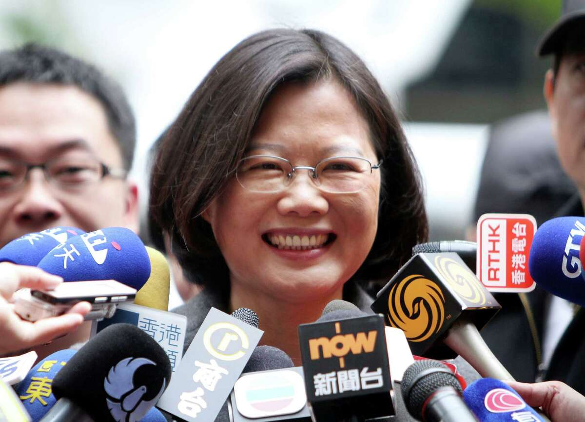FILE - In this Jan. 14, 2012 file photo, Tsai Ing-wen, presidential candidate of Taiwanese opposition Democratic Progressive Party speaks to reporters in New Taipei City, Taiwan. Taiwan?'s opposition presidential candidate will look to reassure U.S. officials this week that victory in a January election for her party, which Beijing views with suspicion, won?'t revive tensions across the Taiwan Strait. (AP Photo/Chiang Ying-ying, File) ORG XMIT: WX102