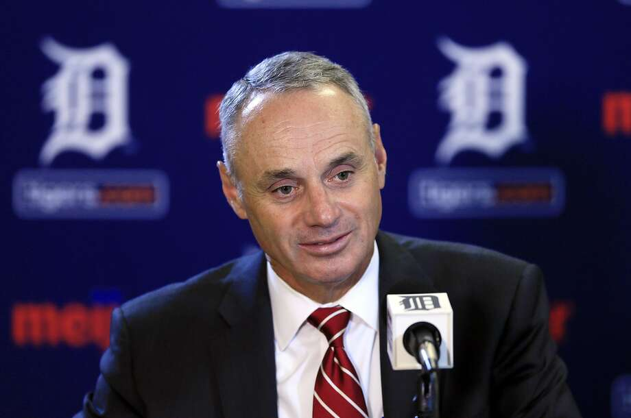 Baseball Commissioner Rob Manfred addresses the media before a baseball game between the Detroit Tigers and the Oakland Athletics, Tuesday, June 2, 2015, in Detroit. (AP Photo/Carlos Osorio) Photo: Carlos Osorio, Associated Press