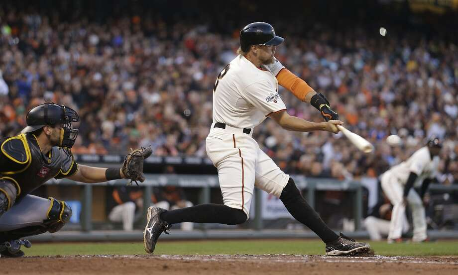 San Francisco Giants' Hunter Pence grounds out against the Pittsburgh Pirates in the second inning of a baseball game Tuesday, June 2, 2015, in San Francisco. (AP Photo/Ben Margot) Photo: Ben Margot, Associated Press