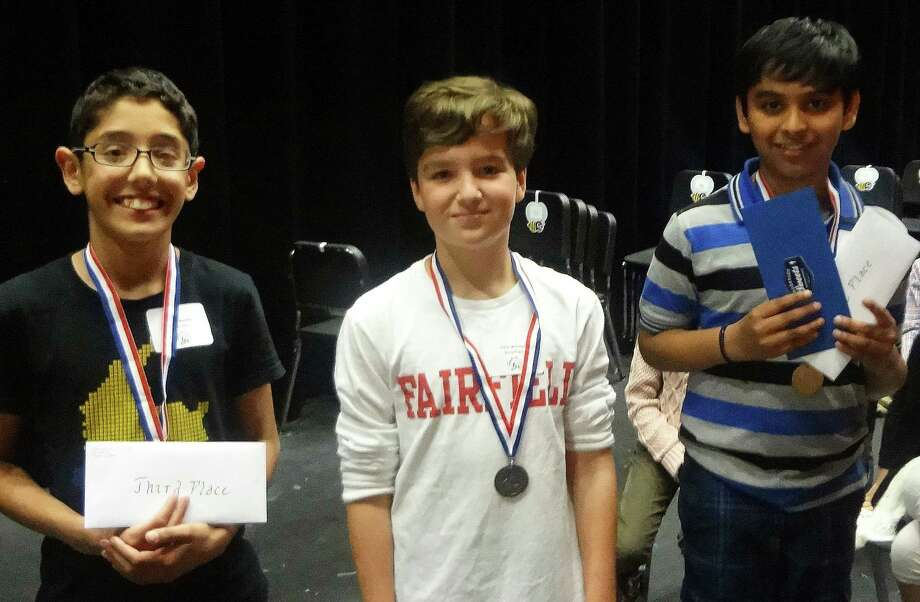 Aryan Iyer, right, of Sherman School was the winner of the recent townwide Spelling Bee sponsored by the Fairfield Junior Women's Club. With him are third-place winner Jonas Mendez, left, of Mill Hill School, and  Colin Mitchell, second place, of Stratfield School. Photo: Contributed Photo / Contributed Photo / Fairfield Citizen