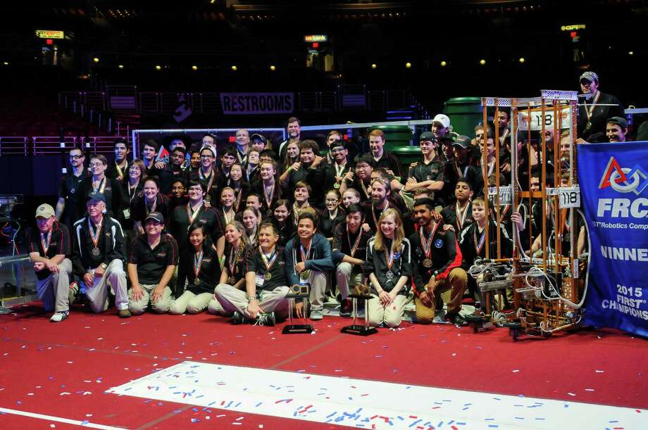 """CCISD's Robonauts and their robot """"Empire""""  along with their Alliance partners from Davis, Clovis and Palmdale, California won the coveted FIRST Robotics Competition Championship and were crowned Alliance World Champs. Photo: Ccisd"""
