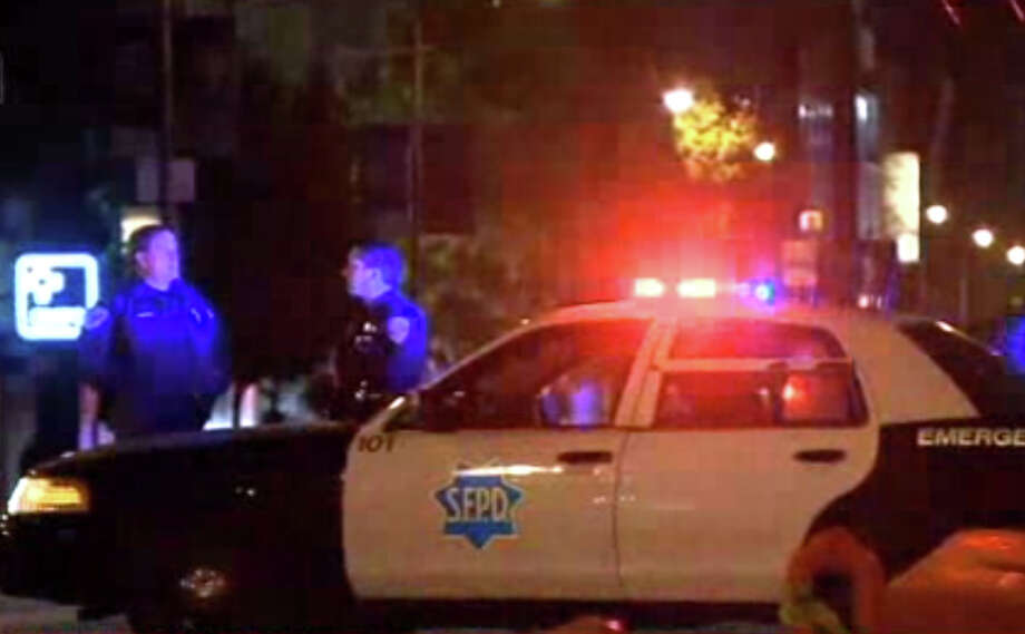 A pedestrian was hit during a police car chase near 8th and Market in San Francisco on Tuesday evening. Photo: CBS San Francisco