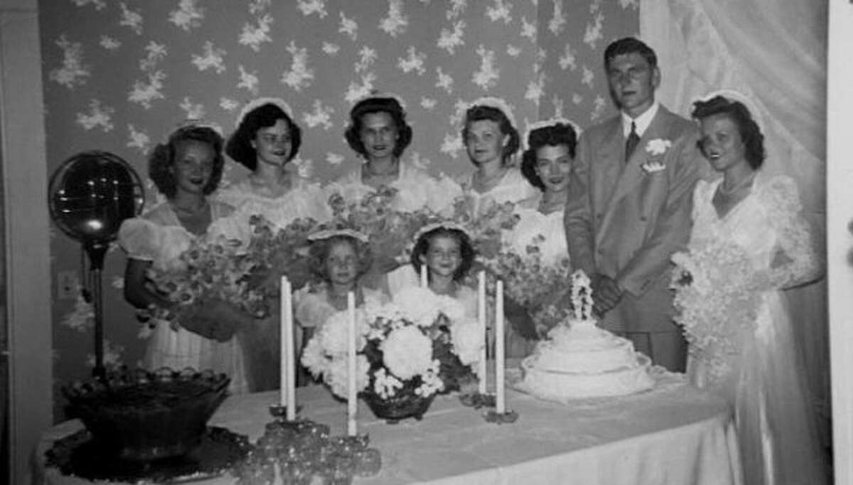 Guy V. and Dena Lewis at their wedding on June 27, 1942.