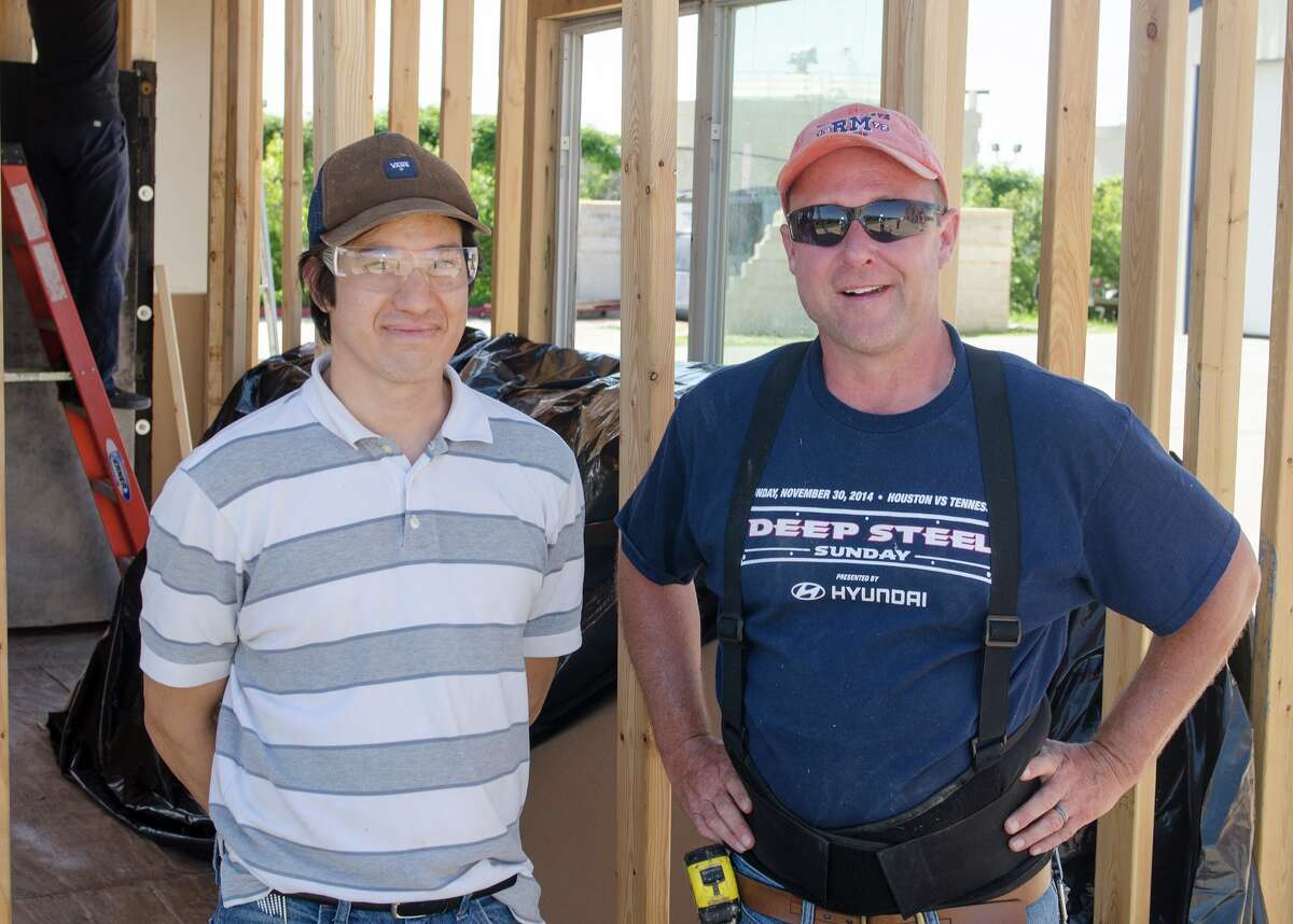 """The Lone Star College-CyFair student team of Mark Hempton and Sean Lester won Bill Arnoldés éConstruction Design Competition"""" with their one-story wooden house that was then built for training purposes for EMS students."""