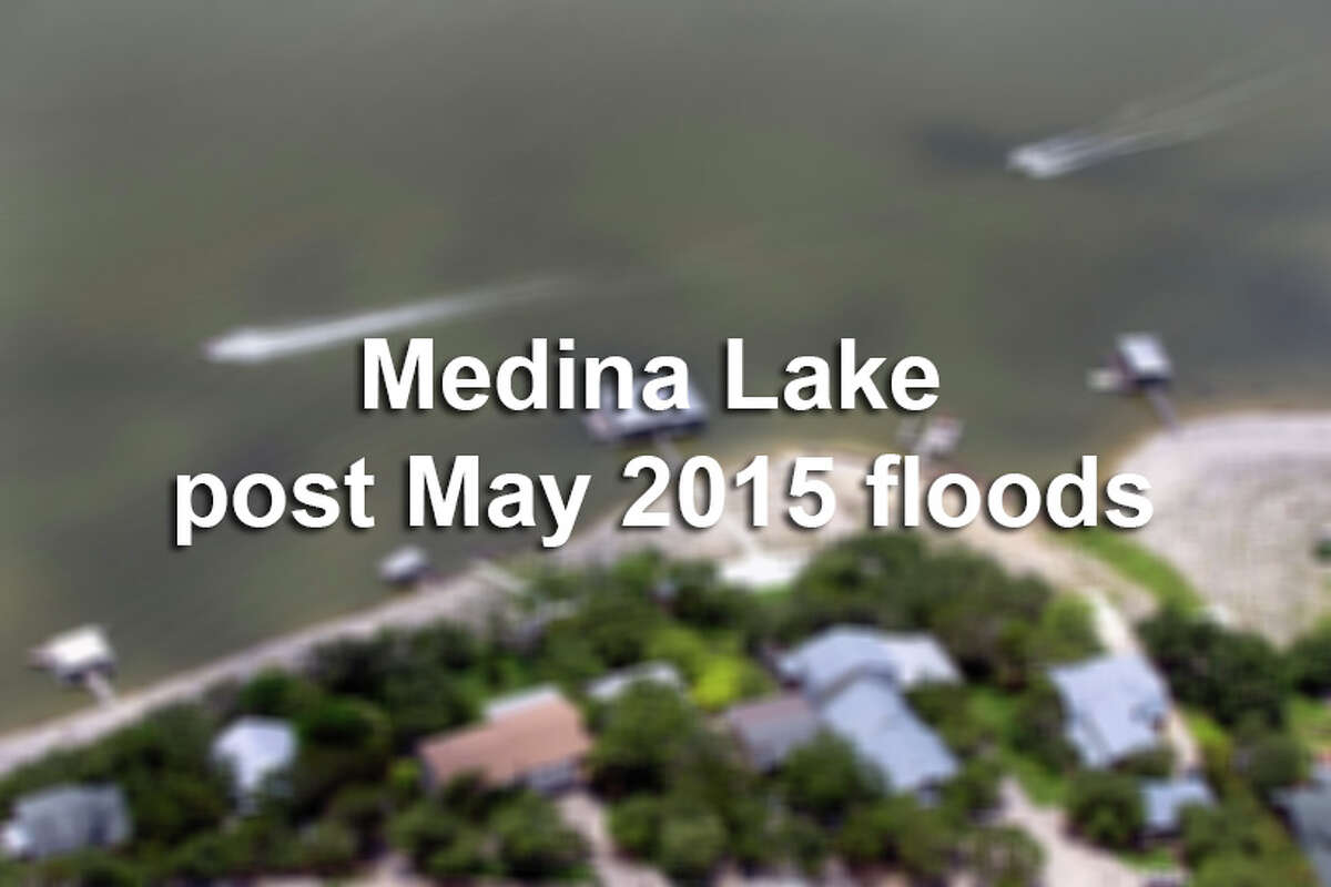 Medina Lake is seen in a Sunday May 31, 2015 aerial photo. Recent rains, though devastating for other parts of Central Texas, have been a blessing for the long-on-the-verge-of-empty lake. The Texas Water Development Board website reported the lake 48.4 percent full Sunday, up from a paltry 4.2 percent full one month ago. That translates to a 60 foot rise in the lake.