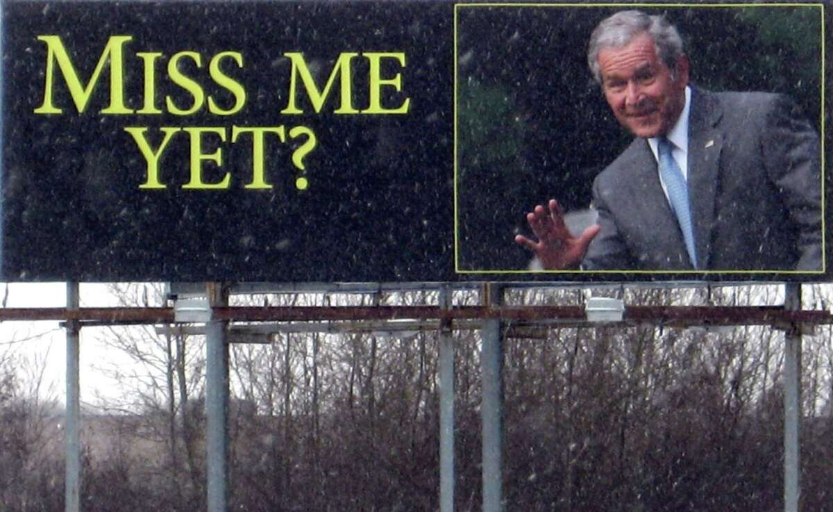 """President Barack Obama has a lower approval rating than George W. Bush in a recent CNN Poll. See how other presidents in the modern stacked up in Gallop approval polls. A billboard along Interstate 35, taken on Tuesday, Feb. 9, 2010 in Wyoming, Minn., carries an image of former President George W. Bush and reads """"Miss me yet?""""."""