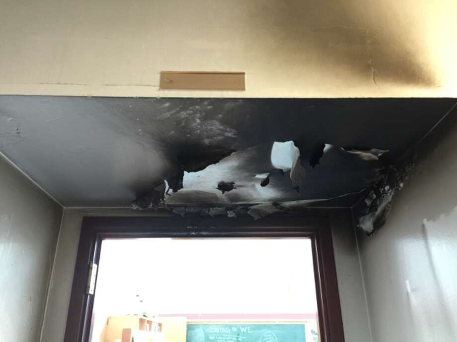 Police are investigating a fire set at the Nova High School's principal's office door Wednesday morning. No one was injured. Photo: SPD