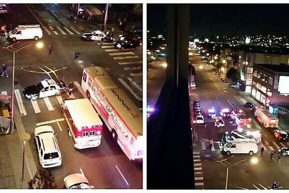 A robbery suspect fleeing police slammed into a pedestrian Tuesday night in San Francisco's South of Market. Miguel Cervera tweeted two photos of the scene as paramedics and police blocked off Eighth and Mission streets.
