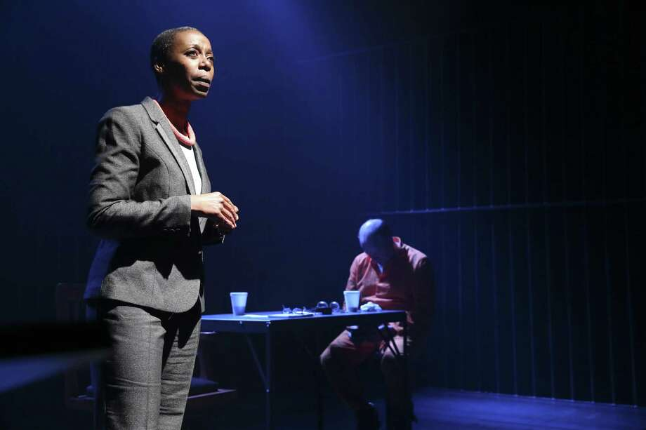 "Noma Dumezweni, left, and Matthew Marsh perform in ""A Human Being Died That Night"" at the Brooklyn Academy of Music in New York, May 28, 2015. Nicholas WrightOs play, based on the book by Pumla Gobodo-Madikizela, reveals the atrocities committed by the South African police forces during apartheid. (Michelle V. Agins/The New York Times) ORG XMIT: XNYT57 ORG XMIT: MER2015053120181008 Photo: MICHELLE V. AGINS / NYTNS"