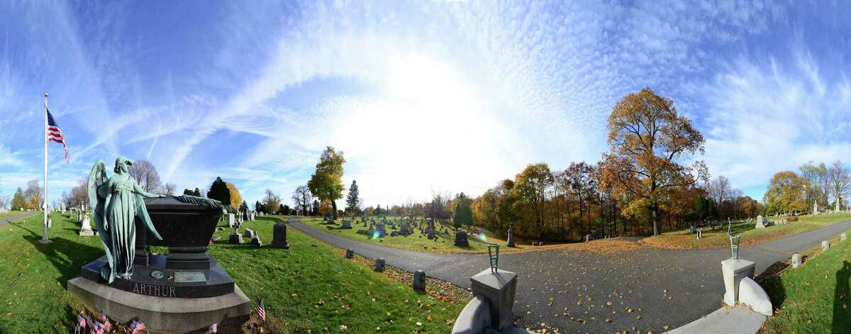 Panoramic image showing the grave of President Chester Alan Arthur Monday, Nov. 4, 2013, at Albany Rural Cemetery in Menands, N.Y. (Will Waldron/Times Union) ORG XMIT: MER2013110618285204