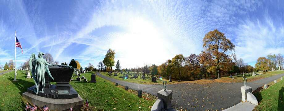Panoramic image showing the grave of President Chester Alan Arthur Monday, Nov. 4, 2013, at Albany Rural Cemetery in Menands, N.Y. (Will Waldron/Times Union) ORG XMIT: MER2013110618285204 Photo: WW / 00023993A