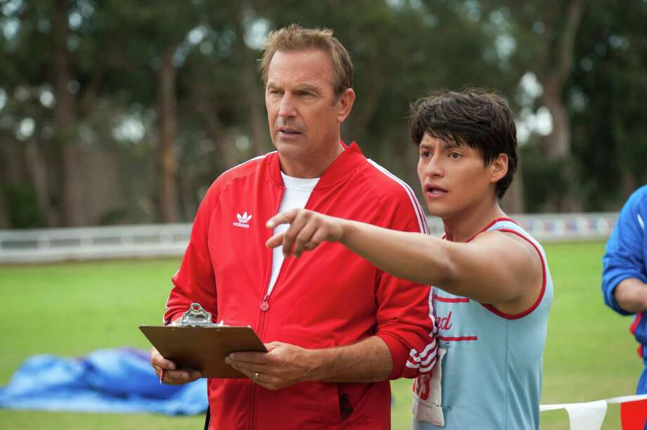 """In this image released by Disney, Kevin Costner, foreground left, and Carlos Pratts appear in a scene from """"McFarland, USA."""" (AP Photo/Disney, Ron Phillips) ORG XMIT: NYET257 Photo: Ron Phillips / Disney"""