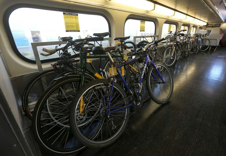 Bicycles fill a designated Caltrain car bound for San Francisco, Calif. on Wednesday, Jan. 28, 2015. Ridership is at an all-time high with trains frequently filled beyond their capacity. Photo: Paul Chinn, The Chronicle