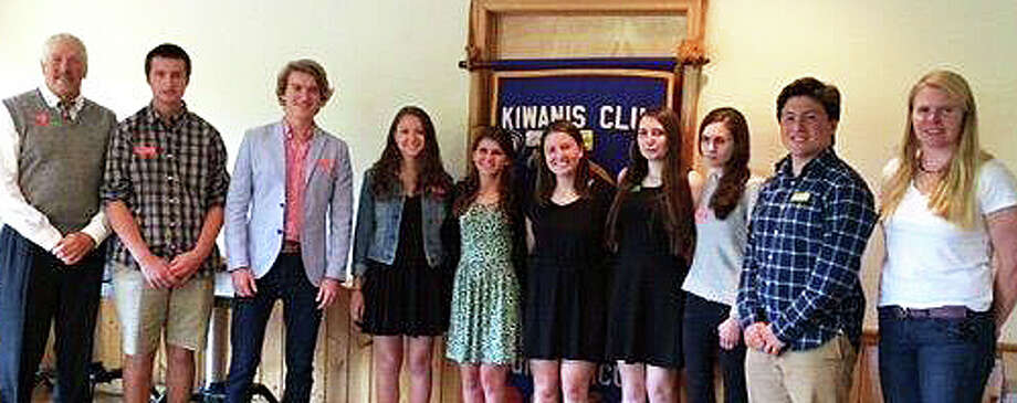The Kiwanis Club presented scholarships to 10 Staples High School students. Pictured at the recent awards ceremony were, from left: :  Michael Laux, past president of Kiwanis; seniors Michael Bottone Jack Baylis,  Rachel Doran, Gabriella Marone, Taylor Harrington, Lauren Reedy, Killian Jampierre and Matt Jacowleff, and Sharon Kriz, the Kiwanis president. Missing from photo are scholarship recipients North Woods and Mehar Kirmani. Photo: Contributed Photo / Contributed Photo / Westport News