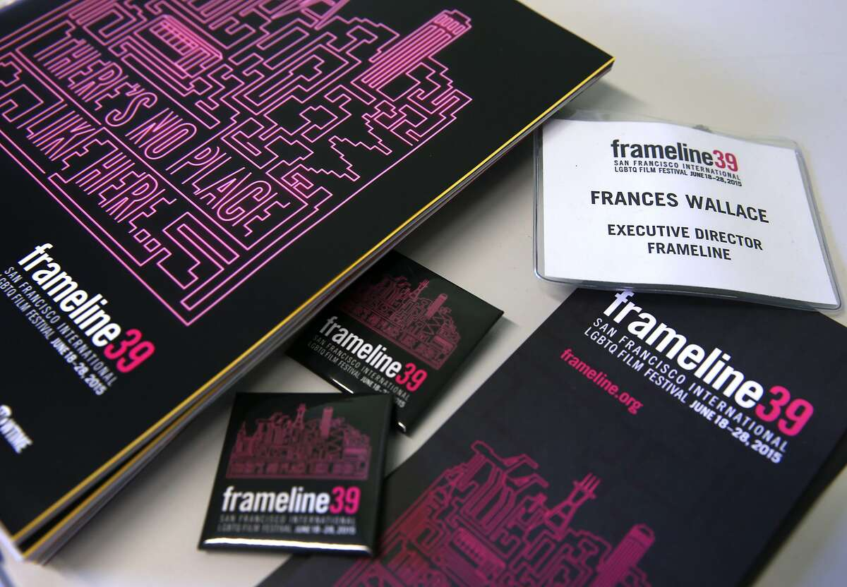 Material for this year's Frameline film festival are displayed in new executive director Frances Wallace's office in San Francisco, Calif. on Wednesday, June 3, 2015. The Frameline39 LGBTQ film festival opens June 18 and concludes June 28.