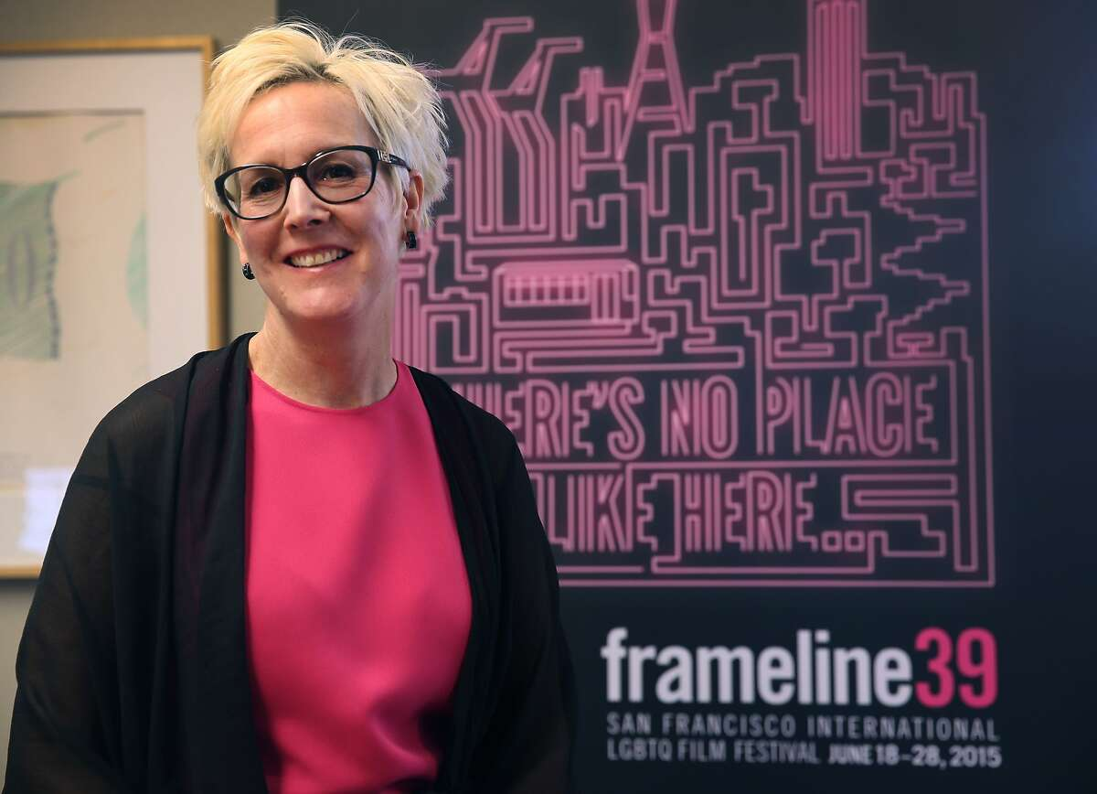Frances Wallace, the new executive director of the Frameline film festival, is seen in her office in San Francisco, Calif. on Wednesday, June 3, 2015. The Frameline39 LGBTQ film festival opens June 18 and concludes June 28.