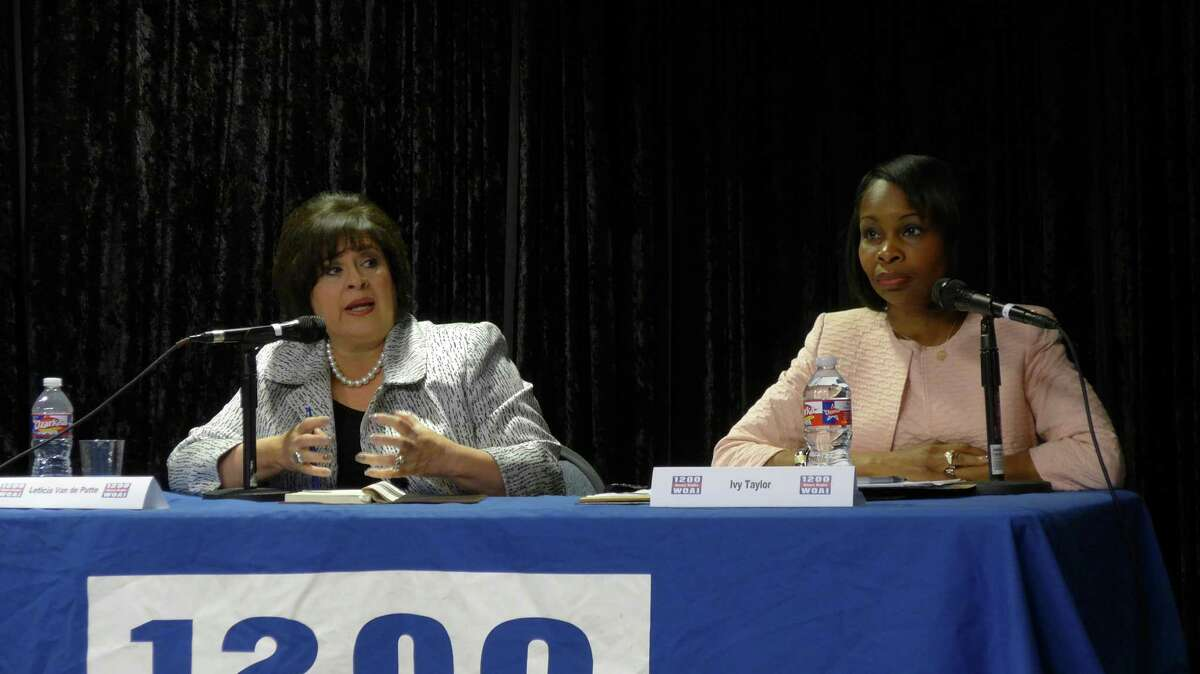 Candidate Leticia Van de Putte, left, and Mayor Ivy Taylor participate in the last of nearly 60 mayoral forums and on Wednesday, June 3, 2015, at the studios of WOAI-AM radio. The candidates are competing in the June 13 mayoral runoff election.