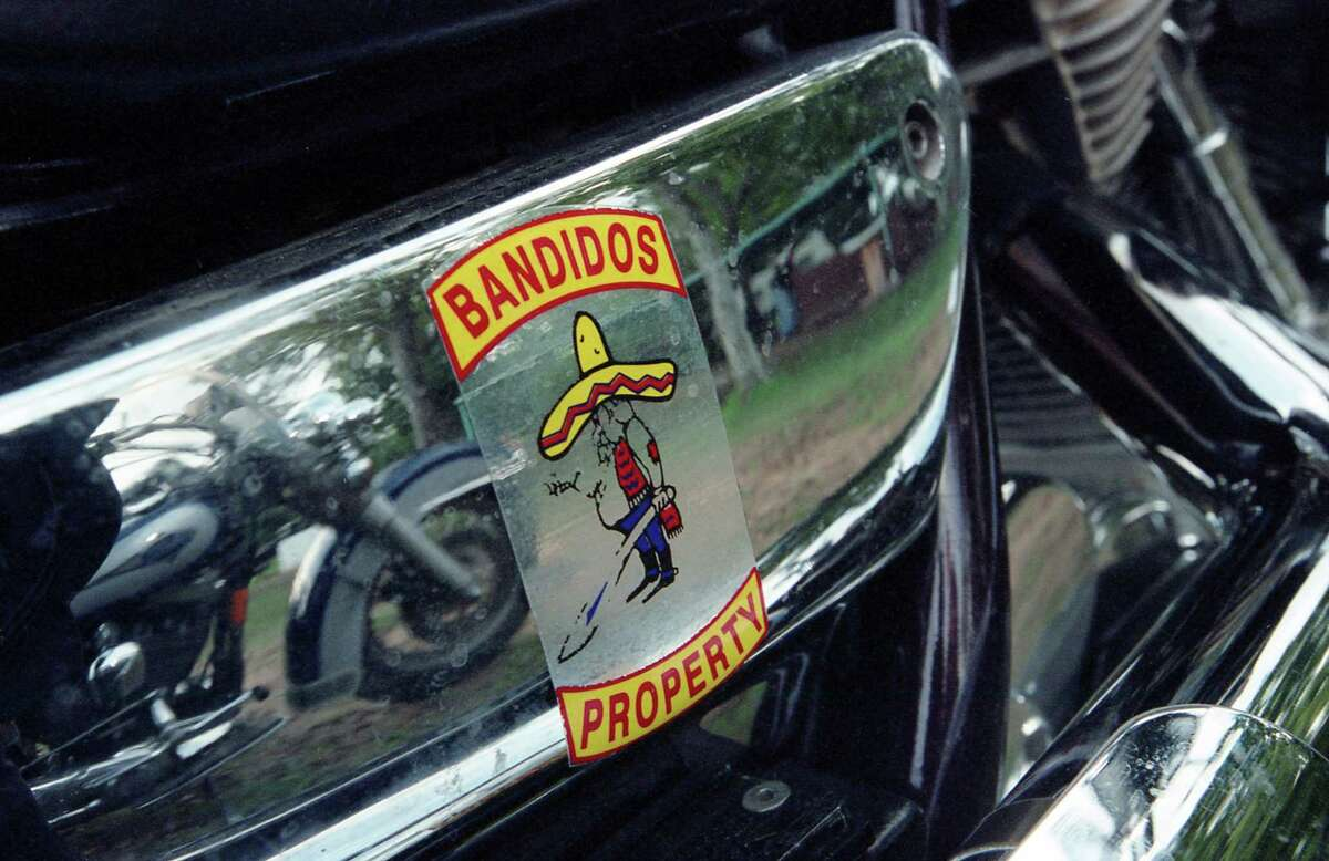 11/05/2000 - Detail of sticker on motorcycle of Bandidos Motorcycle Club member during a weekend party at Bryant's Ice House near Katy.