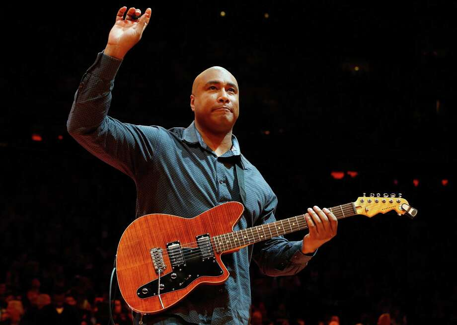 Former New York Yankee  and musician Bernie Williams will work with students at Jettie Tisdale School in Bridgeport, Conn. as part of the National Turnaround Arts School program. Here Williams  performs the national anthem before a game between the New York Knicks and the Miami Heat at Madison Square Garden on February 1, 2014 in New York City. Photo: Jim McIsaac,  Jim McIsaac/Getty Images /  Getty Images