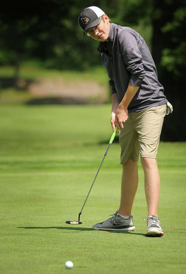 Derek Sudell, of Greenwich High School, rims out a birdie putt on the 4th hole of the FCIAC Boys Golf Championship at Fairchild Wheeler Golf Course in Fairfield, Conn. on Wednesday, June 3, 2015. Photo: Brian A. Pounds / Connecticut Post