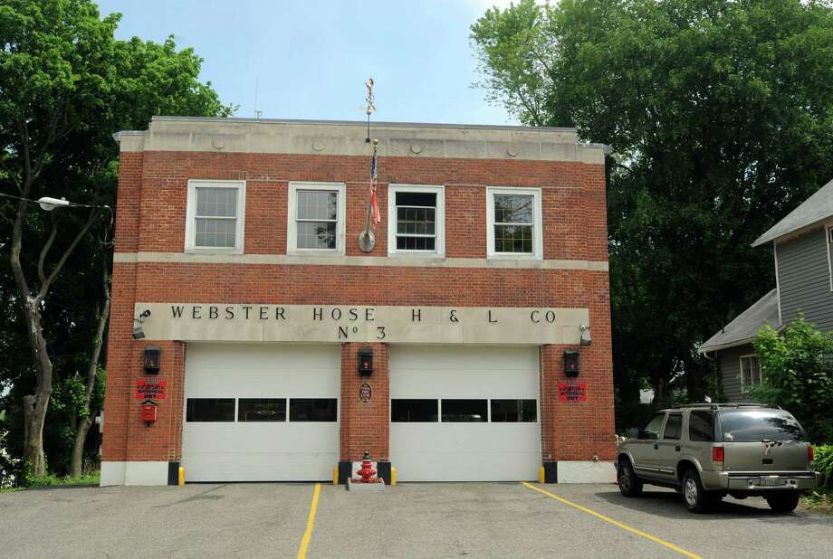 A concrete floor holding a fire engine above a conference room at Webster Hose on Platt Street in Ansonia, Conn. began crumbling Monday, forcing Mayor David Cassetti to order emergency Photo: Cathy Zuraw / Connecticut Post