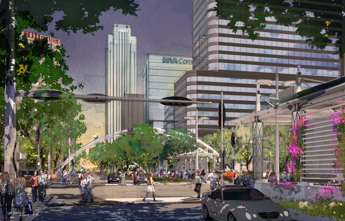 A rendering of Uptown's near-future plans for Post Oak (facing south): More trees, wider sidewalks, and shaded bus stops hugging those sidewalks.