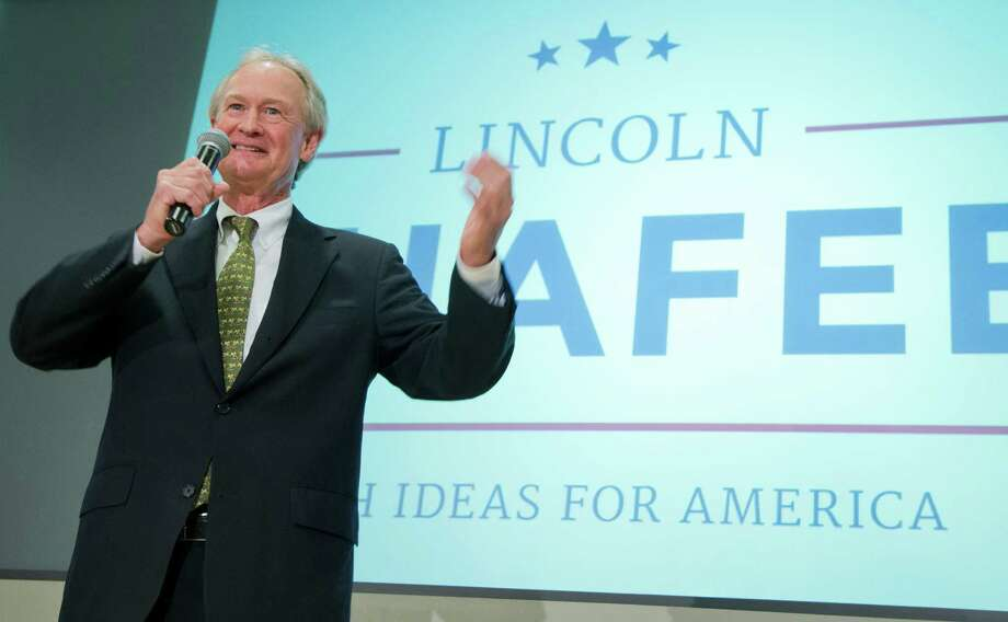 Former Rhode Island Gov. Lincoln Chafee, announces his candidacy for the Democratic presidential nomination during a speech at George Mason University in Arlington, Va., Wednesday, June 3, 2015. Chafee entered the race Wednesday, casting himself as an anti-war candidate who opposed the invasion of Iraq back when Hillary Rodham Clinton supported it. (AP Photo/Manuel Balce Ceneta) Photo: Manuel Balce Ceneta, STF / Associated Press / AP
