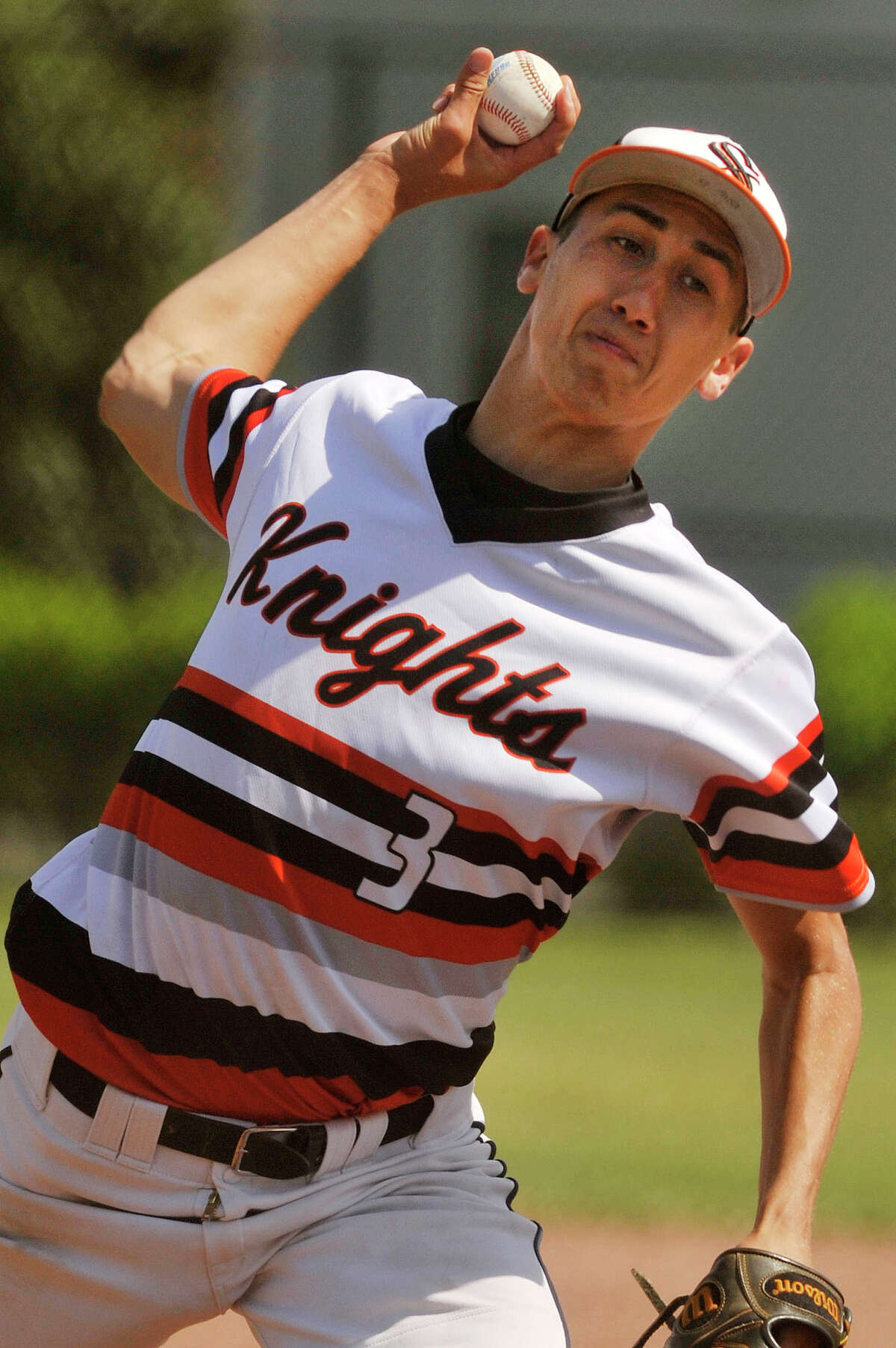 Stamford's Billy DeVito pitches during the Black Knights' Class LL first round state playoff game against Naugatuck at Stamford High School in Stamford, Conn., on Wednesday, June 3, 2015. Stamford won, 5-4 and will face Fairfield Prep on Thursday, June 4.