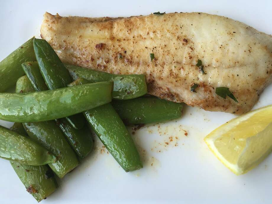 Sole with snap peas and tarragon brown butter Photo: Amanda Gold
