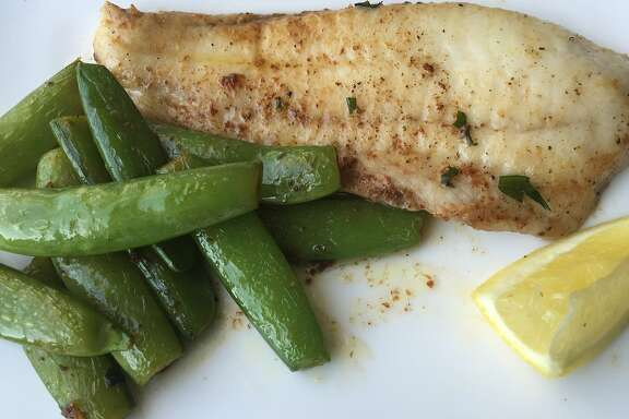 Sole with snap peas and tarragon brown butter