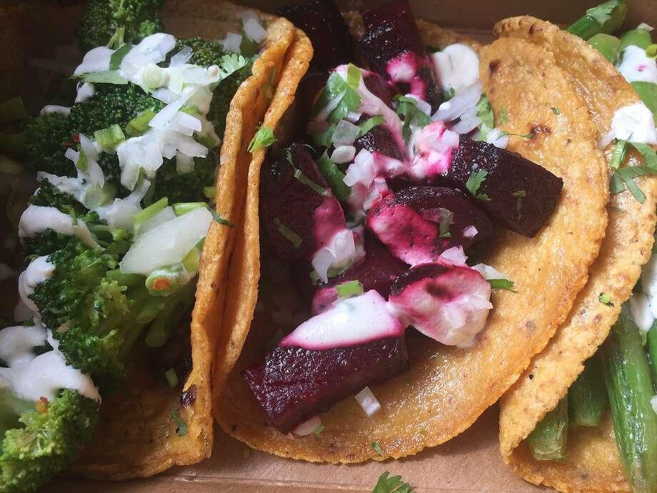 The vegetable taco flight at Gracias Madre Photo: Amanda Gold