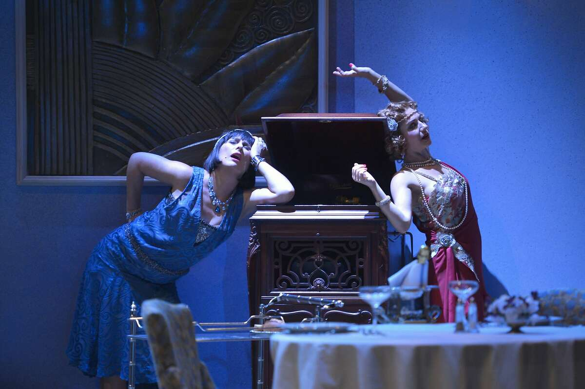 """Disaffected wives Jane (Rebecca Dines, left) and Julia (Sarah Overman) live it up while their husbands are out of town in """"Fallen Angels"""" at TheatreWorks"""