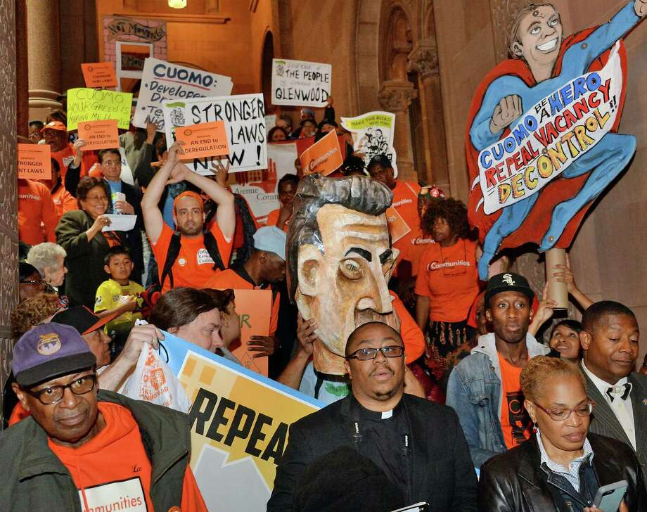 Demonstrators stage a sit-in at the Capitol to push for stronger rent laws Wednesday June 3, 2015 in Albany, NY.   (John Carl D'Annibale / Times Union) Photo: John Carl D'Annibale / 00032140A
