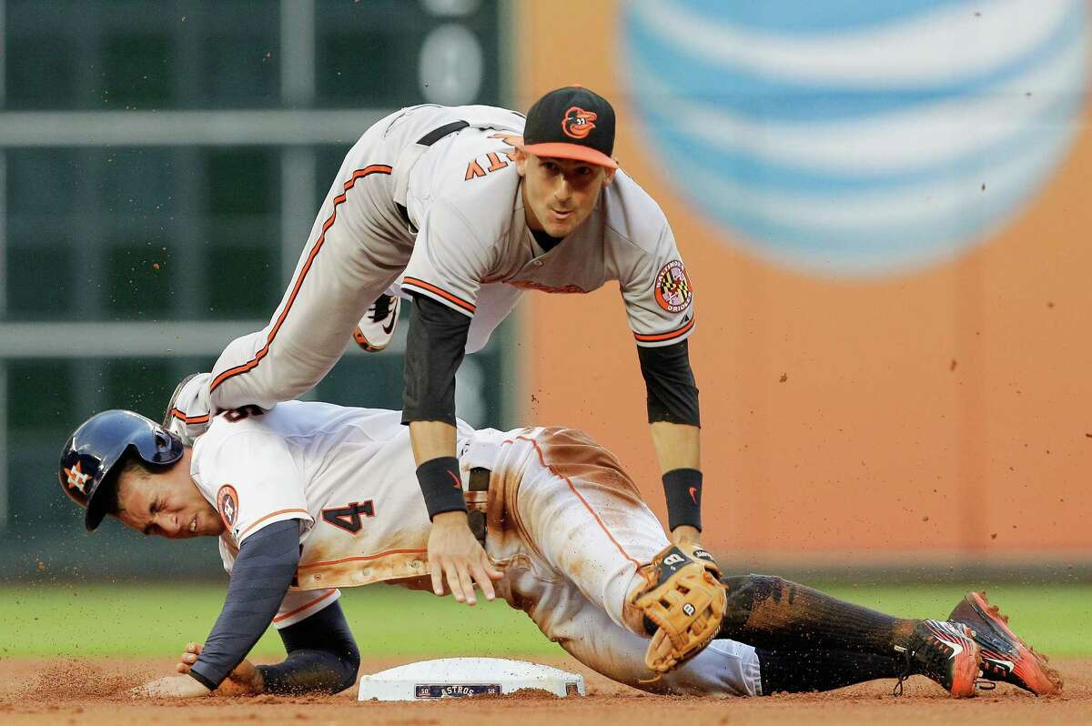 Baltimore Orioles' Ryan Flaherty (3) throws over Houston Astros' George Springer (4) for a double play in the first inning of a baseball game Wednesday, June 3, 2015 in Houston. (AP Photo/Bob Levey)