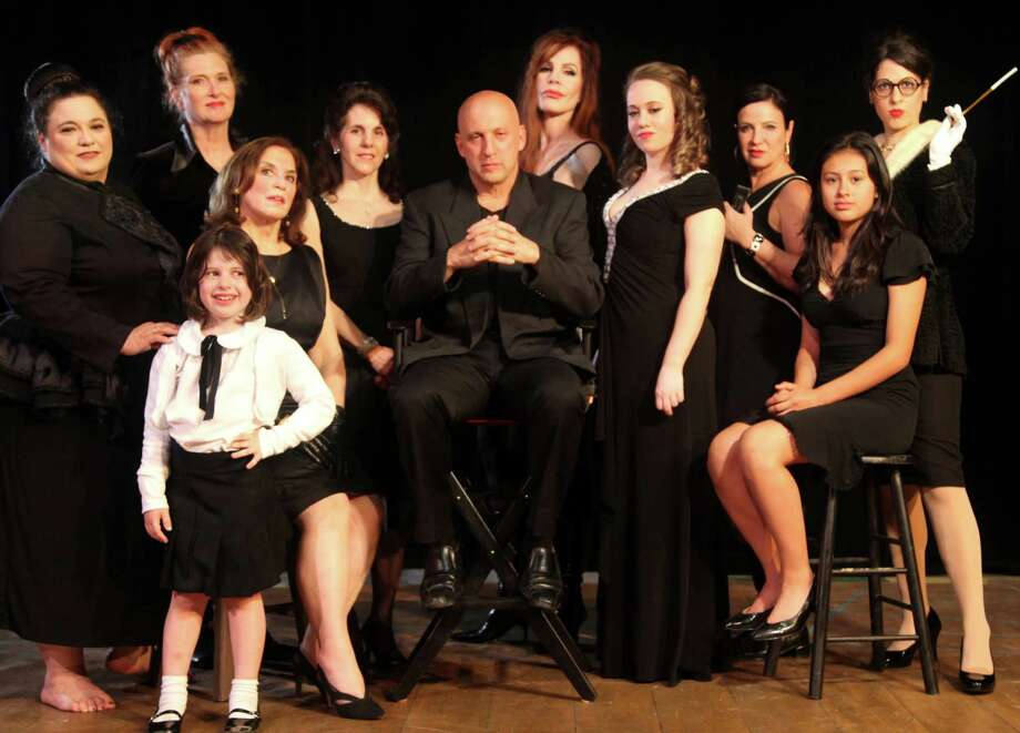 "Cast of the Westport Community Theatre's production of the musical ""Nine"" includes, Ainsley Dahlstrom (child in front); left to right, Lucia Palmieri, Janice Rudolph, Jodi Maxner, Beth Bria, Bennett Pologe, Karen Hanley, Betsy Simpson, Robie Livingstone, Sarah Hernandez and Lisa Dahlstrom. Photo: Contributed Photo / Contributed Photo / Westport News"