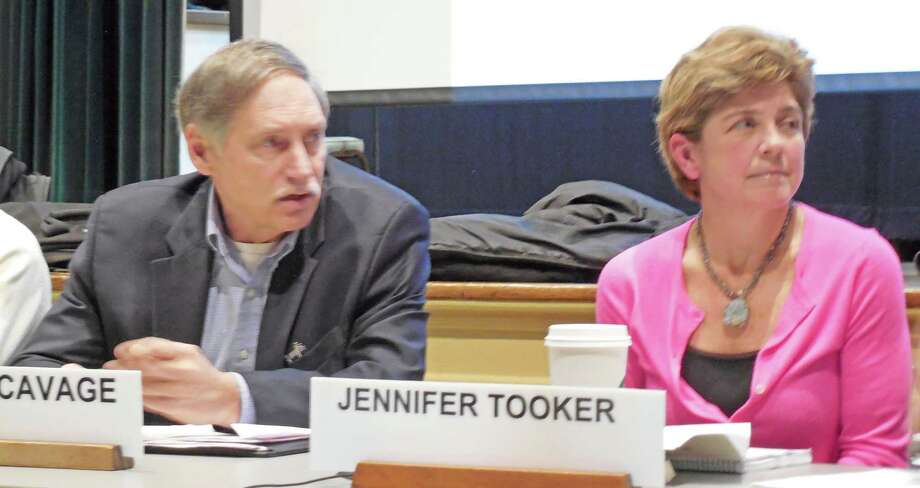 Jennifer Tooker has been elected chairwoman of the Board of Finance, succeeding John Pincavage, left, who stepped down from the post but will continue serving on the board. Both are Republicans. Photo: File Photo / westport news